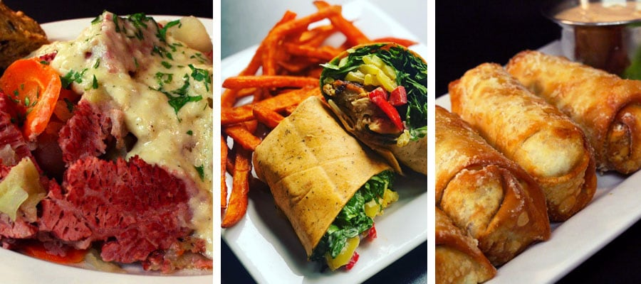 Corned Beef and Cabbage entree, Chicken Wrap, and Reuben Rolls appetizer at Dublin Square Irish Pub and Eatery located in La Crosse, Wisconsin