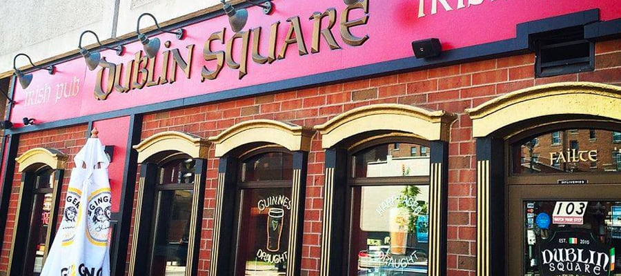 The front of Dublin Square Irish Pub and Eatery located in La Crosse, Wisconsin